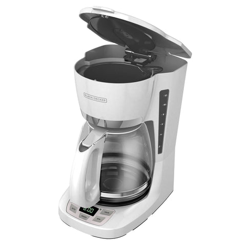 BLACK+DECKER 12-Cup QuickTouch Programmable Coffeemaker, White, CM1060W