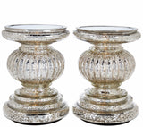 "S/2 Lit Candle Holder Pedestals, 5.3"" Handmade Festive Ribbed Mercury Glass Pillar Candle Stand Holder with Micro LED Lights - Home Decor Accessories - Silver"