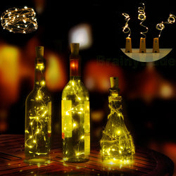 3 Pack Starry Copper Wire Light String Cork Shaped LED Bottle Wine Stopper Lamp
