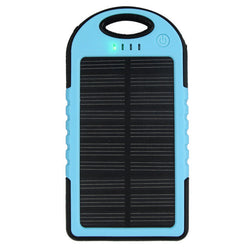 5000 mah Dual-USB Waterproof Solar Power Bank Battery Charger for Cell Phone(Blue)