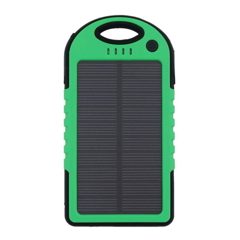 5000 mah Dual-USB Waterproof Solar Power Bank Battery Charger for Cell Phone(Green)