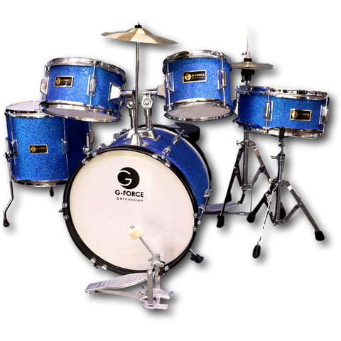 G-Force 16 Inch Junior Children Drum Set  5 Piece Child Kids Full Function Blue Color (GBL)