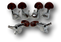 6 PCS Guitar String Semicircle Pearl Brown Button Tuning Pegs 3L 3R Keys Acoustic Electric Chrome SC2(CM)3R3L