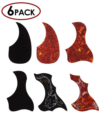 Acoustic Guitar Pickguard Set, Self Adhesive, Pack of 6