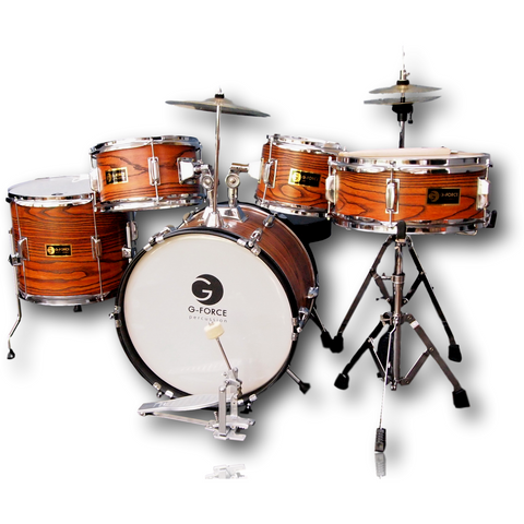 G-Force 16 Inch Junior Children Drum Set  5 Piece Child Kids  Full Function Wood Color (AW)