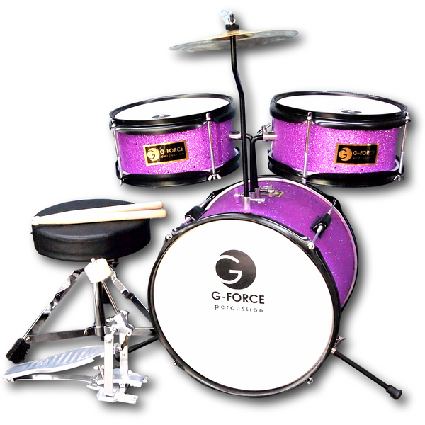 G-Force 13 Inch Junior Children Drum Set 3 Piece Child Kids Light Pink Color