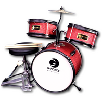 G-Force 13 Inch Junior Children Drum Set 3 Piece Child Kids Red Color
