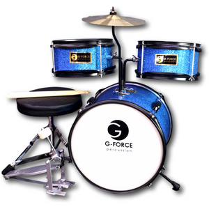G-Force 13 Inch Junior Children Drum Set 3 Piece Child Kids Blue Color