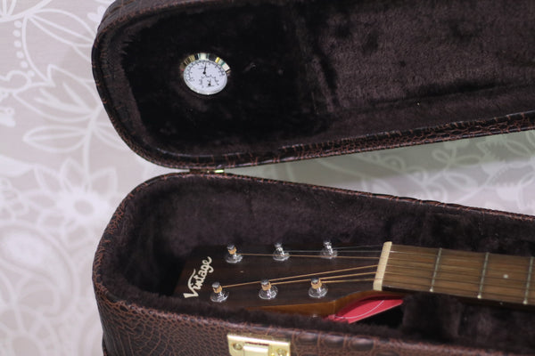 "Vintage crocodile leather Dreadnough 41"" Acoustic Guitar Hard Case w/Hygrometer"