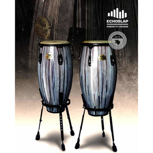 Echoslap  Congas Artists Series   Black and White + Basket Stand