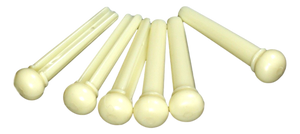 Set of 6 Acoustic Guitar Bridge Pins ,Aged White /No Dot