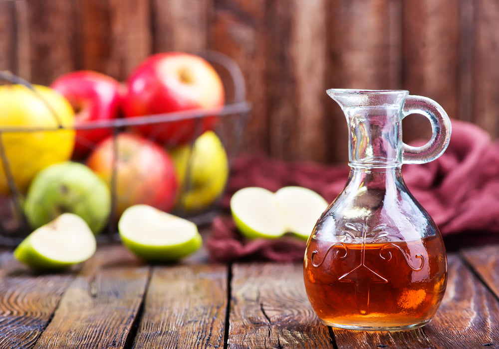 cruet of apple cider vinegar