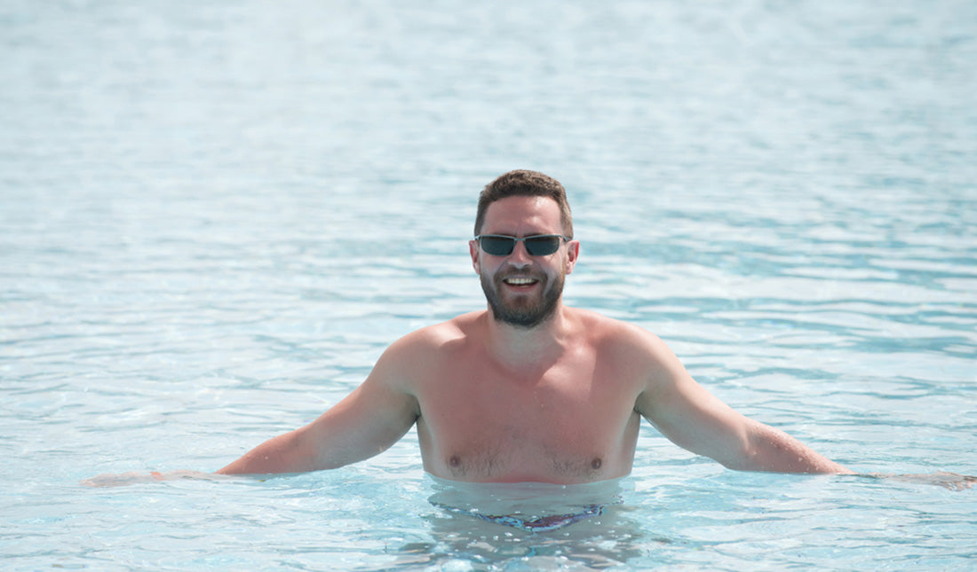 bearded man in pool