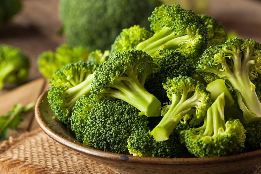 bowl of raw broccoli