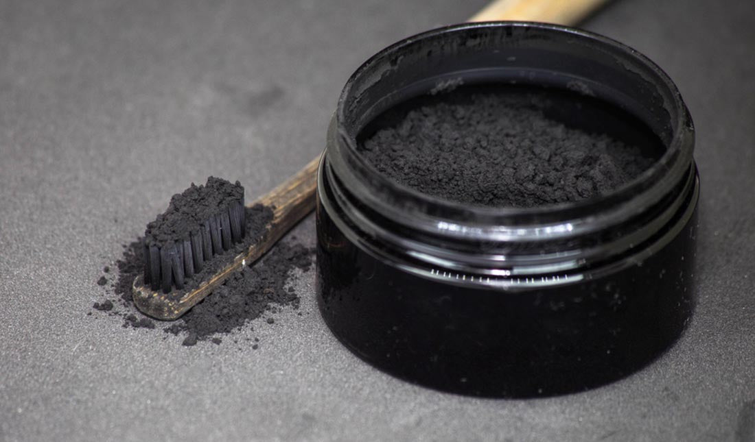 charcoal covered toothbrush