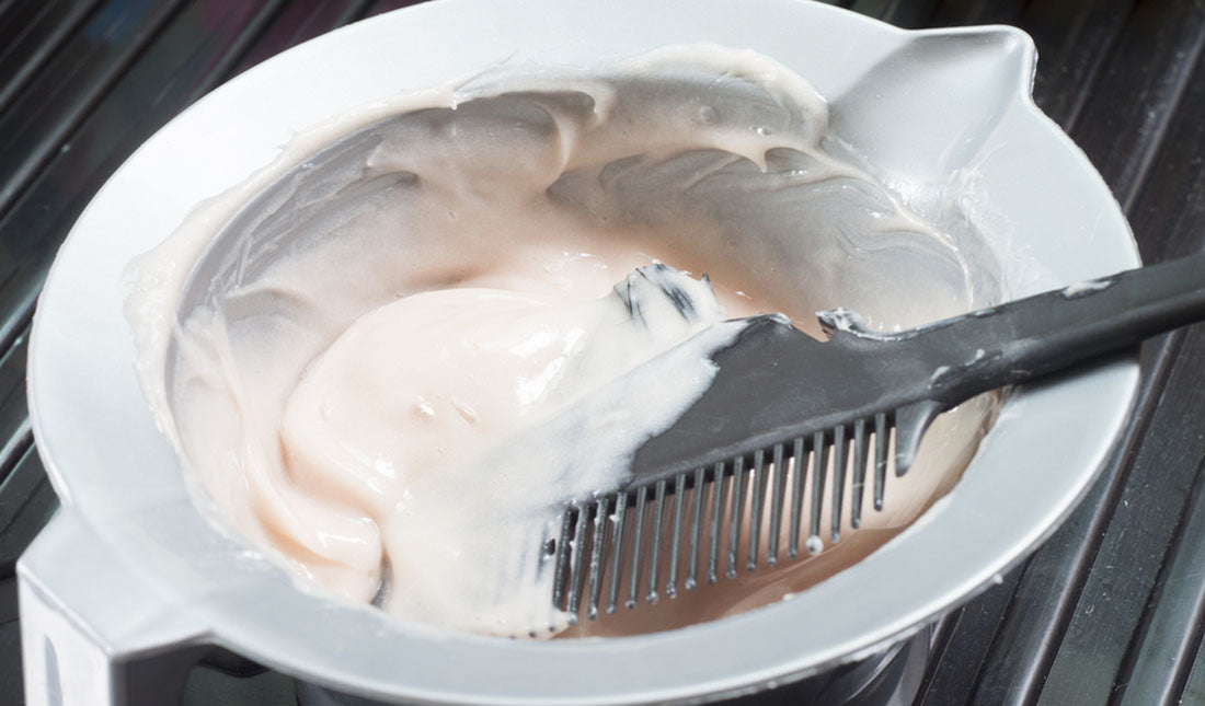 hair coloring solution in mixing bowl