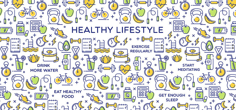 Colorful illustration of different aspects of a healthy lifestyle