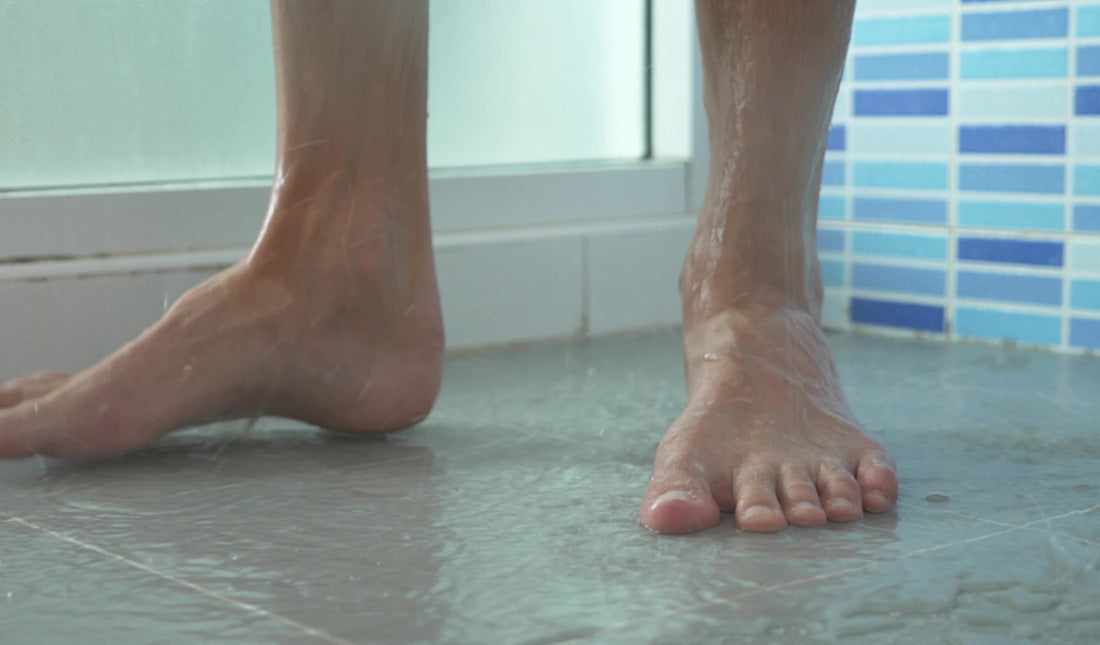 male legs shower