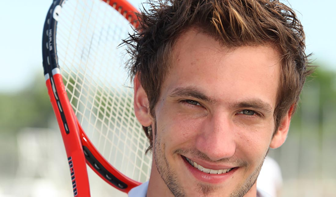 male tennis player portrait