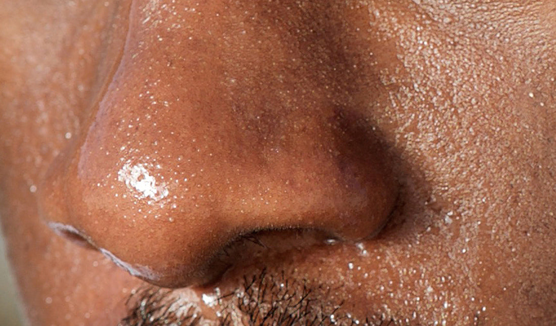 man's nose with oily skin
