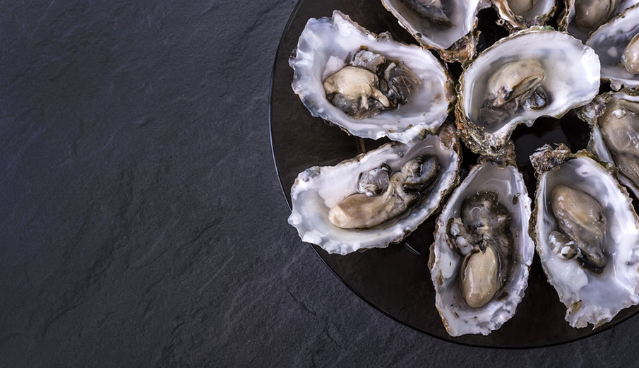 shucked oysters on plate