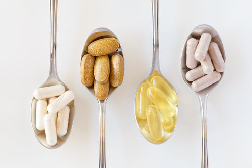 various supplements on spoons