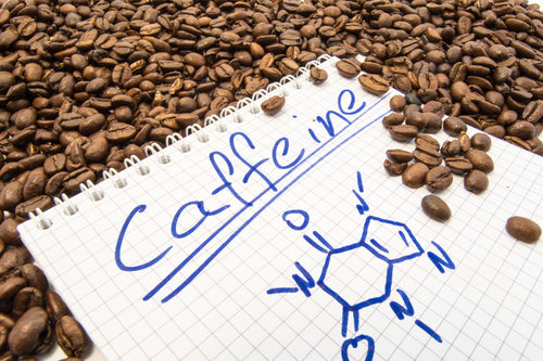 caffeine written on notebook