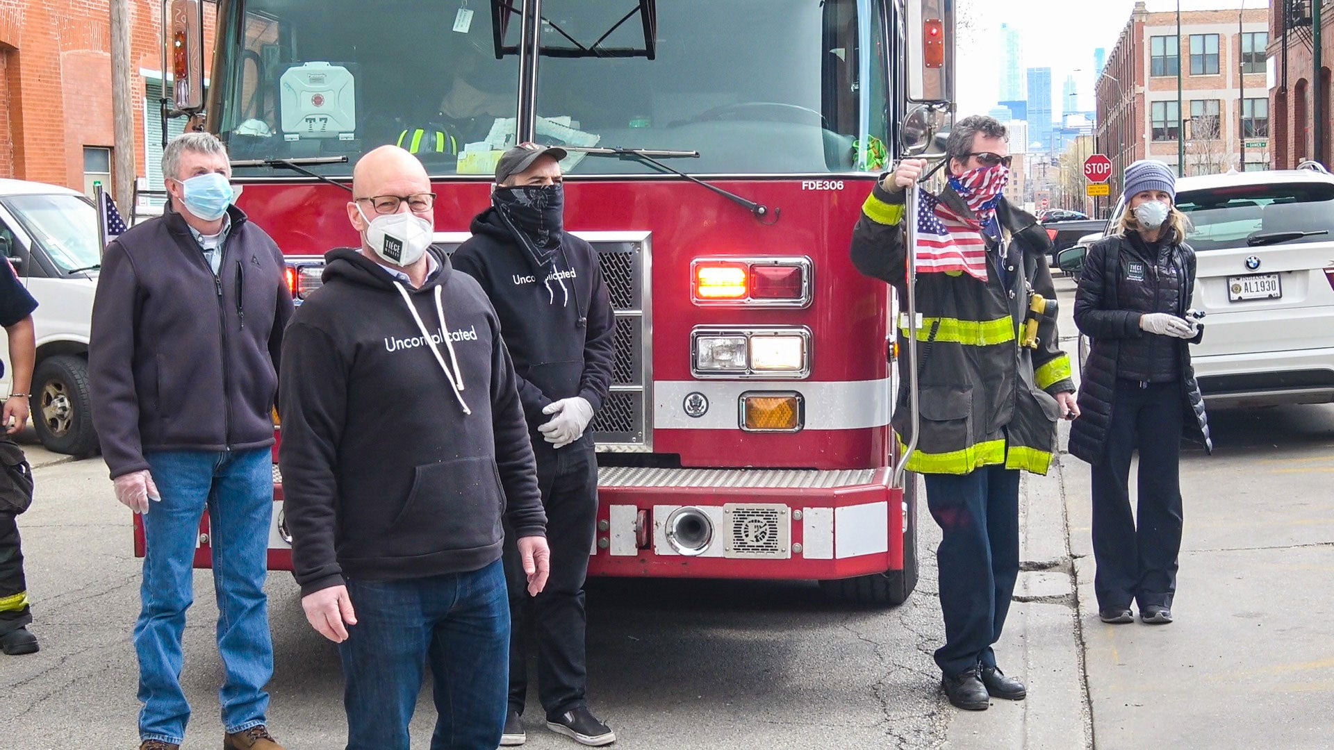 Tiege Hanley and Chicago Fire Department Hand Sanitizer Donations