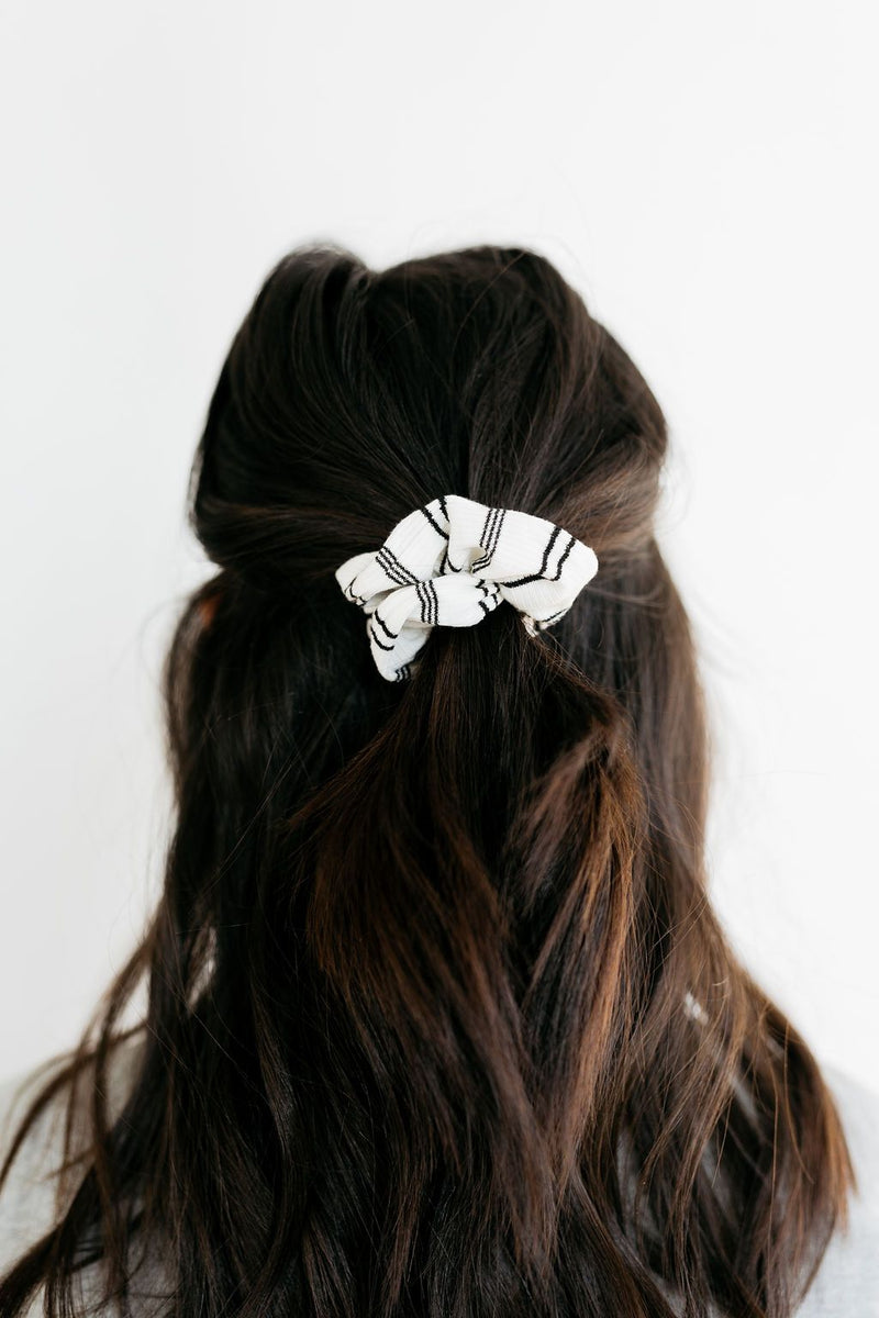 Black & White Striped Scrunchie