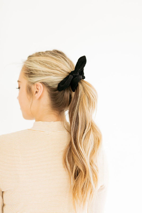 Olivia Pleated Black Scrunchie