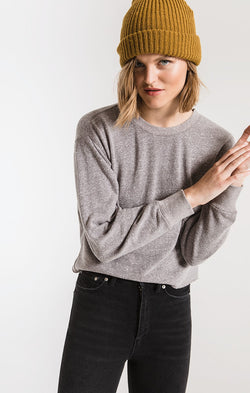The Triblend Long Sleeve Cropped Tee Heather Grey (3780401692725)