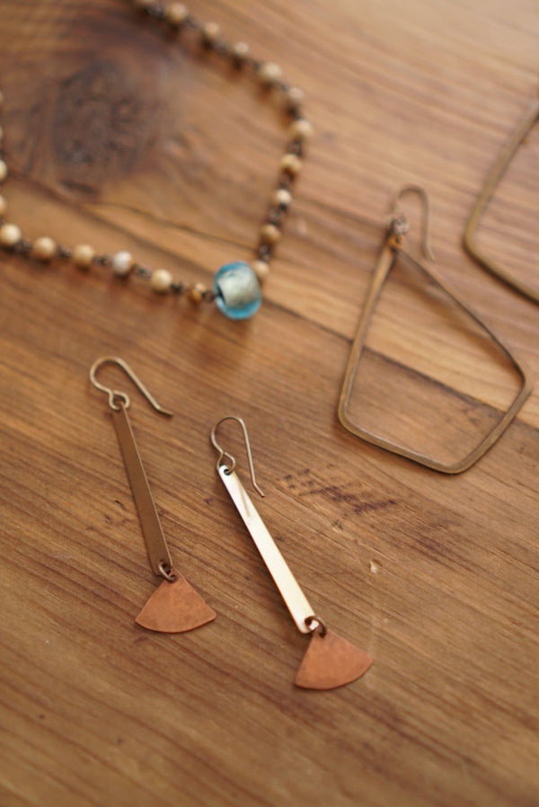 Tapered Bar & Fan Earring Brass/Copper