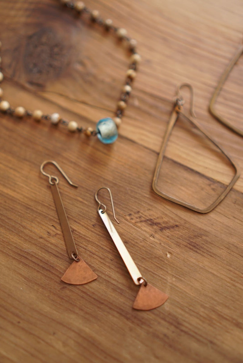 Tapered Bar & Fan Earring Brass/Copper (3765027569717)
