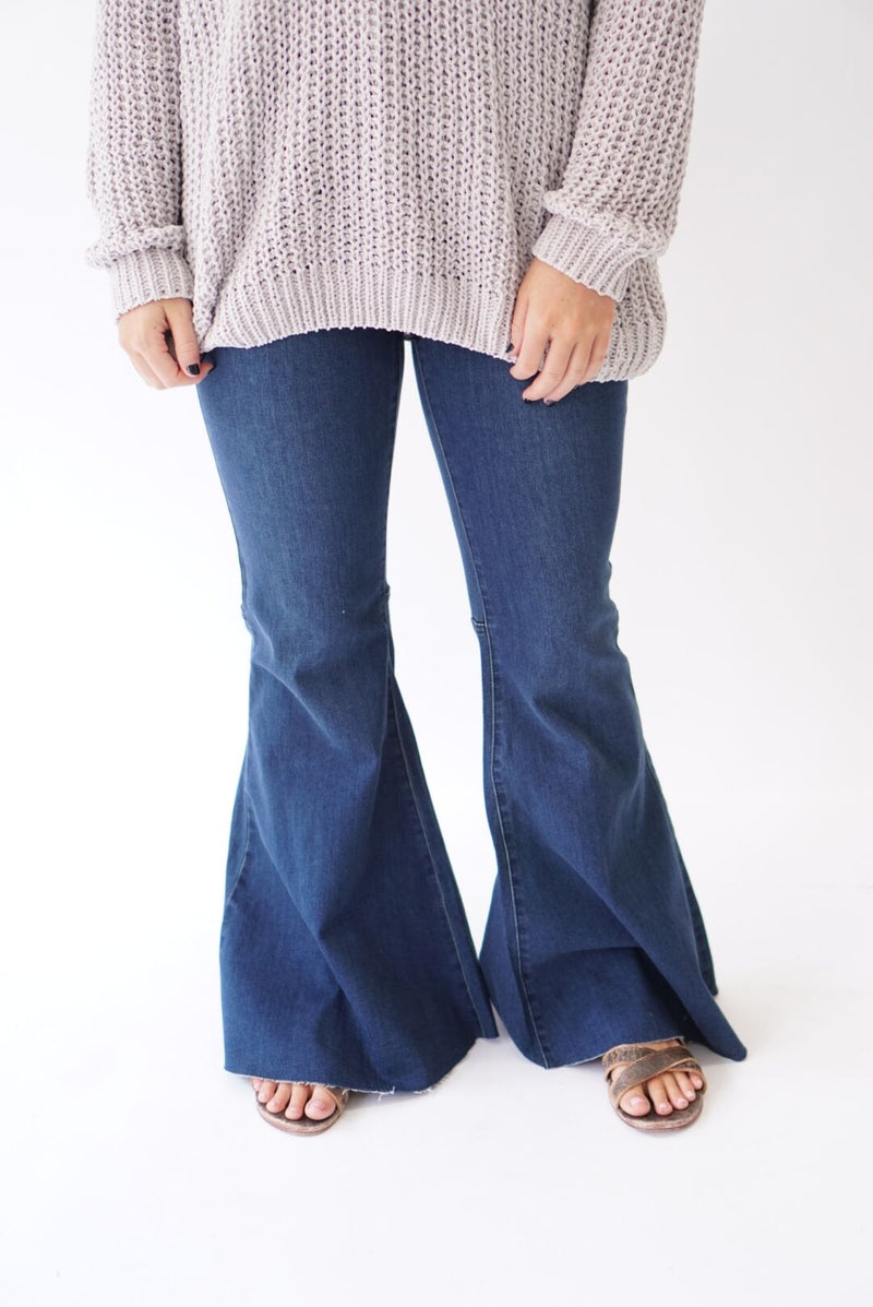 Super Flared Bell Bottoms Dark Denim