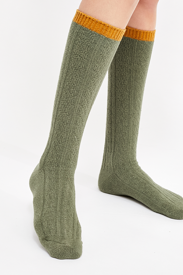 Koda Cable Slouchy Socks Moss (3819327619125)