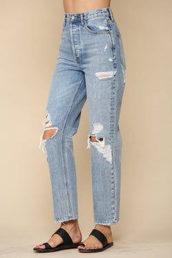 Distressed High-waisted Boyfriend Jeans