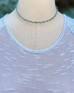 Beaded Chain Choker Blue