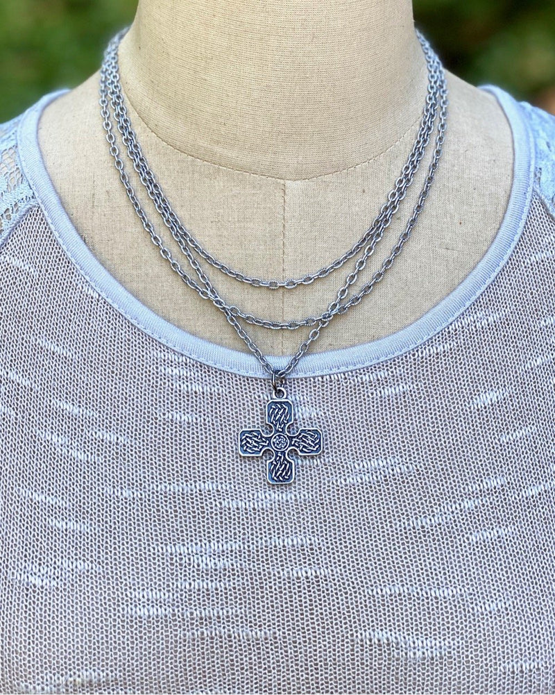 Metal Layered Cross Necklace Silver