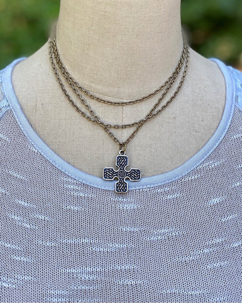 Metal Layered Cross Necklace Brass