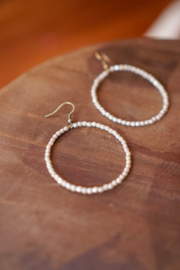 Big Crystal Hoop Earring Ivory
