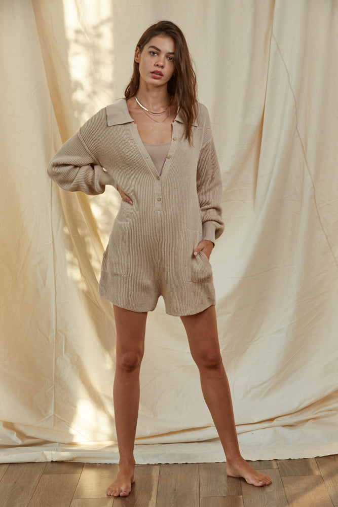 Outta Town Romper Taupe
