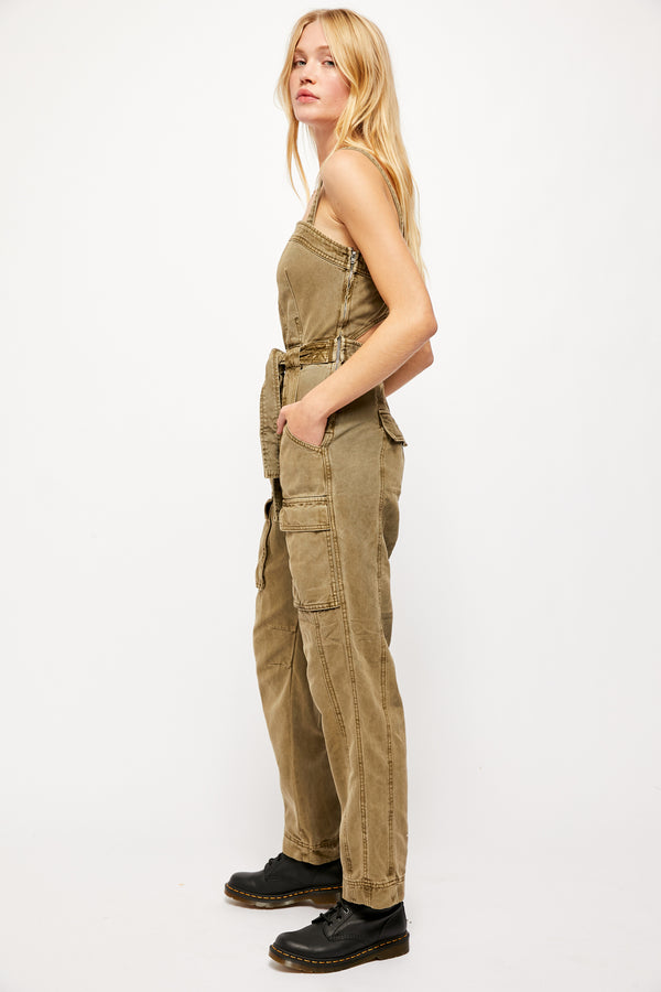 Go West Utility Jumpsuit Moss