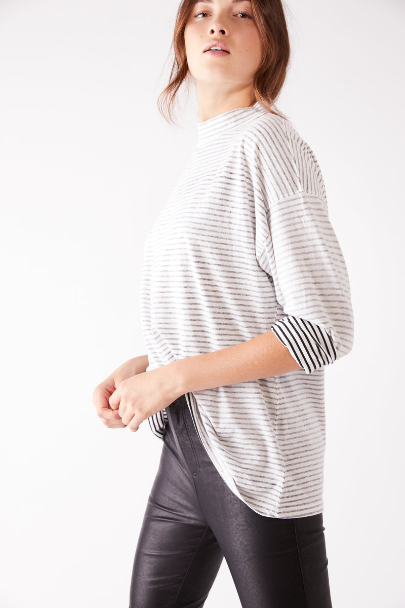 Be Free Stripe Tunic Black