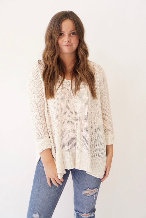 Summer Love V-neck Sweater Cream (3774922391605)