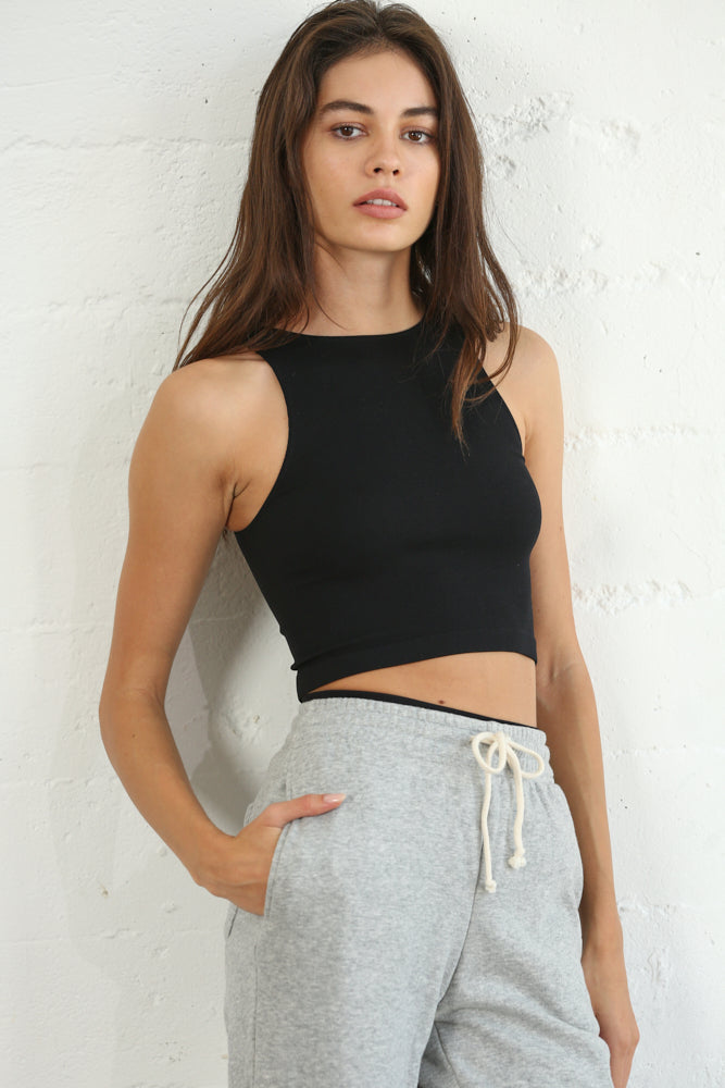 Keepin' On Crew Neck Crop Top Black
