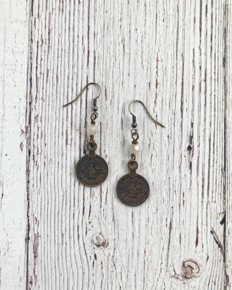 Coin Earrings Antique Gold