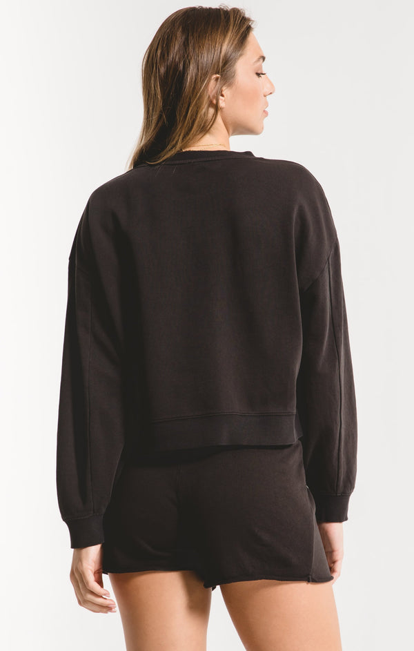 The Cotton French Terry Pullover Black