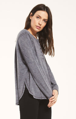 Rebel Slub Henley Washed Grey