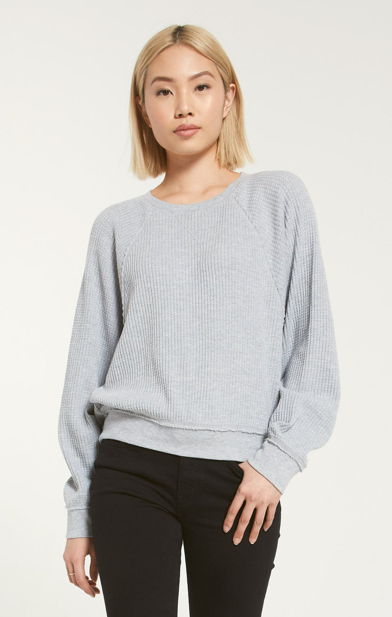 Claire Waffle Long Sleeve Grey