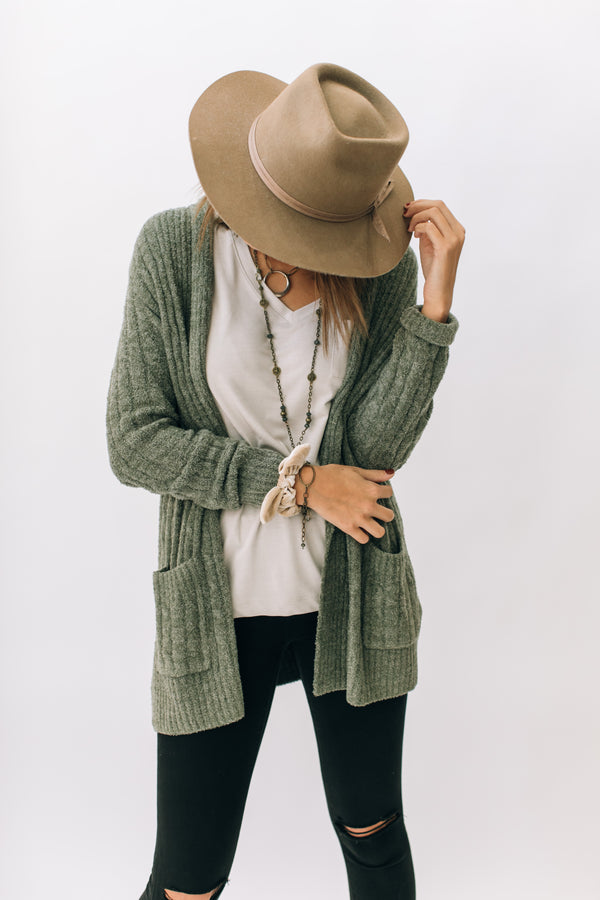 Cozy Chic Lite Cable Cardi Olive/Loden